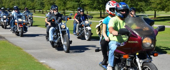 Motorcycle enthusiasts in a Honda Ride for Kids